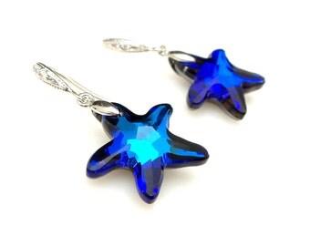 bridesmaid gift Swarovski bermuda blue starfish crystal drop with cubic zirconia rhodium white gold sterling silver hook - Free US shipping