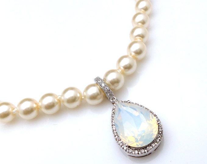 wedding jewelry bridal bridesmaid necklace prom gift pageant white opal teardrop swarovski pendant cubic zirconia deco detachable hoop small