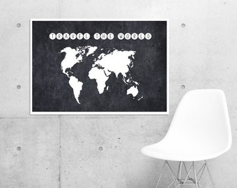Travel Print , World Map, Map of the world, Let's Get Lost, Travel the World, Trending Items, Trending Now, Large Wall Art, Oversized Art
