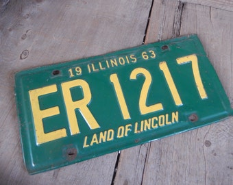 Vintage License Plate Illinois 1963 Green and Yellow Metal Rustic Patina Decor Auto Car Tag Collectible Mancave Garage Decor