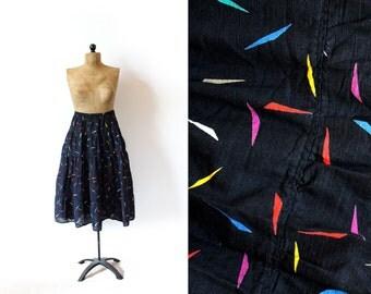 vintage skirt 80's black rainbow confetti print tiered 1980's women's clothing size s m small medium