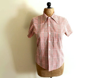 SALE vintage mens shirt 1960s clothing houndstooth orange brown size small s