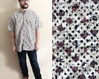 mens shirt vintage columbia abstract 90's print earthy neutral colors clothing size large l