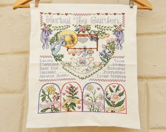 Vintage 80s-90s Embroidered Herbal Tea Garden Wall Hanging