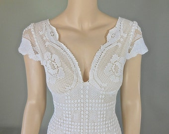 RESERVED Janneke Hippie Boho WEDDING Dress, Crochet Lace Wedding Dress, Simple WEDDING dress, Beach Wedding Dress Sz Medium