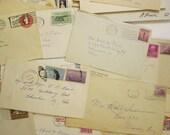 10 vintage envelopes - circa 1930s to 1960s - ephemera, typed and handwritten - postage stamps