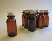 100 small brown glass bottles with corks or without - vials - 10ml - 2 inches tall - apothecary style bottles