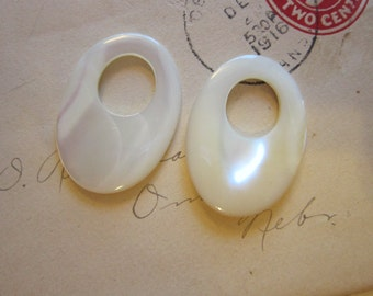 2 mother of pearl doorknocker components - 24mm x 34mm