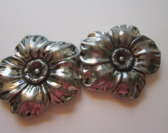 vintage FLOWER buckle - 2 piece silver tone flower buckle