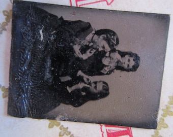 antique miniature tintype photo - gemtype - three women with sweets?  - late 1800s photo - gte73