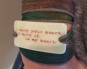 i carry your heart, e.e. cummings Personalized Bracelet fused glass wrap bracelet on hand dyed silk ribbon