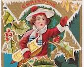 Boy with Sled - Antique Christmas Postcard - Christmas, Christmas Cards, Christmas Postcards, Children, Boys, Sleds, Sledding, Ephemera