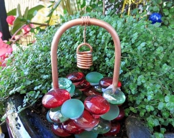 "Fairy Garden Accessories, Wishing Well, ""Christmas Forest"" Glass Drops, Copper & Glass Wishing Well, Outdoor Fairy Garden"