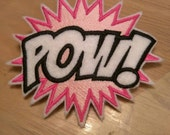 Hot pink glam POW super hero embroidered hair barrette with silver accents