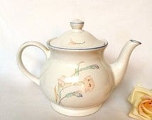 ON SALE Sadler Teapot white with floral and blue trim / 80's Sadler /  Shabby Chic teapot