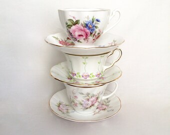 Lot of China Teacups / Floral Teacups Instant Tea Party / Lot of 3
