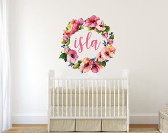 Vinyl Wall Sticker Decal Art - Colorful Floral Name Wreath