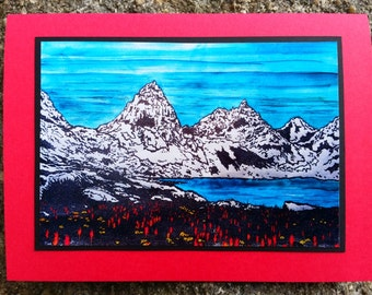5 Alpine Wildflowers Notecards on Turquoise, Red, Green, or Baby Blue