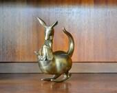 vintage brass kangaroo mother and child figurine