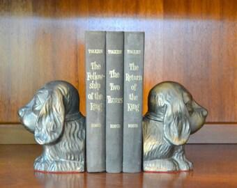 vintage cast metal cocker spaniel dog bookends