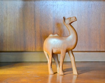 vintage handcarved wooden camel figurine / rustic home decor / wooden figurine / nursery decor