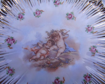 Antique/Vintage Gold Accented Cherubs Plate