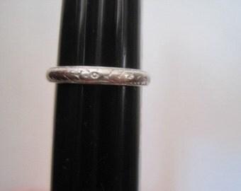 Vintage Engraved Platinum Carved Wedding Band Size 4 1/4 Floral Flowers