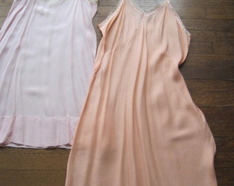 Lot of Two Vintage Slips Nightgown One Larger Size Need Slight Repair Use for Cutters