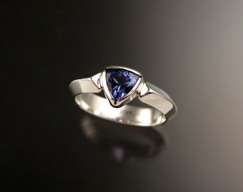 Tanzanite Triangle Ring Sterling Silver made to order in your size