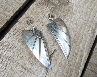 Vintage Art Deco Sterling Silver Angel Wings Dangle Earrings | Vintage Silver Earrings | Dangle Earrings | Statement Earrings