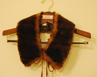SHOP SALE! Vintage Collar Faux Fur Italian with Suede Bow Ties Peter Pan Russian Doll