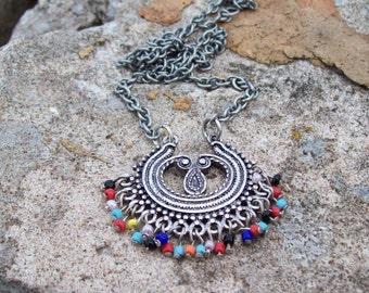 Crescent Pendant Necklace - chain necklace - colorful boho bohemian pendant, tribal gypsy, ethnic necklace, beaded dangle pendant