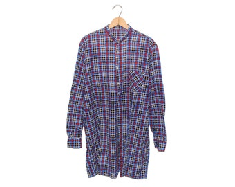 Vintage European Blue Red & Black Checkered Plaid 100% Cotton 3/4 Length Button Up Grandpa Shirt - Large (os-bds-2)