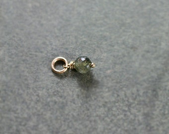 October Birthstone Green Tourmaline Charm, 14k Gold Filled Wire Wrapped Pendant - Add a Dangle