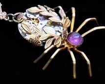 Steampunk Necklace Spider Necklace Purple Crystal Necklace Spider Jewelry Steampunk Gifts