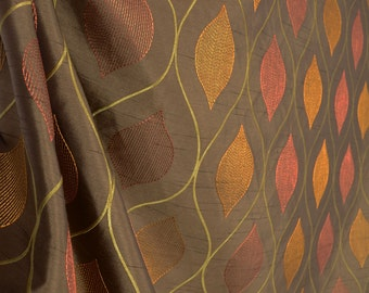 Caliber Chocolate Modern Ogee Embroidered Fabric