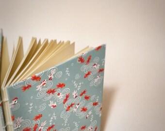 Japanese koi coptic bound writing journal - Japanese notebook - Japanese cute drawing sketchbook - hand bound book - bullet journal - custom
