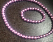 Faux Pearl Set for Little Girls - Purple Glass Faux Pearl Set - Children's Jewelry