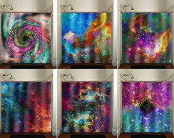 Rainbow Nebula Planet Outer Space Galaxy shower curtain bathroom decor fabric kids bath window curtains panels valance bathmat