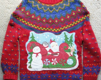 Hand knit Ugly Christmas Sweater with Appliqued Holiday Scene and Fantastic Yolk Pattern