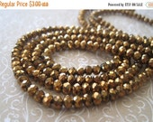 """20% OFF ON SALE 13"""" long (100 pcs) Chinese Crystal Gold Faceted Rondelle 4mm Beads"""