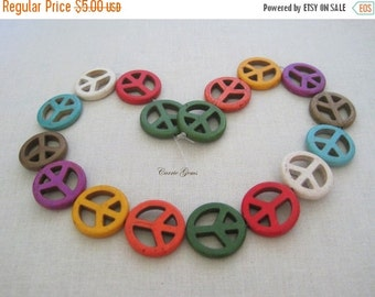 """20% OFF ON SALE 16"""" long (15 pcs) Multi Color Howlite Peace Sign 24mm Beads"""