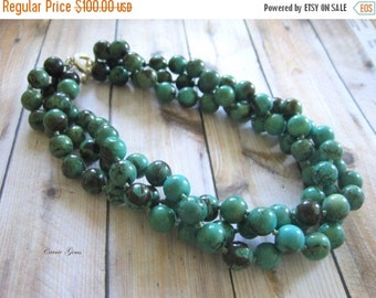 20% OFF ON SALE 3-strand Green Howlite Hand Knotted Necklace, Gemstone Beads