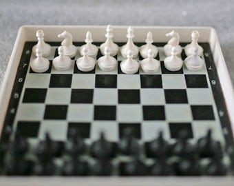 """Vintage Soviet Chess - Magnetic Travel Mini Set - Plastic - 4.5"""" inch board - 1970s - from Russia / Soviet Union / USSR"""