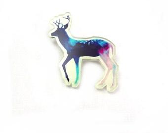 Deer Stag Laser Cut Acrylic Brooch - Handmade Jewellery