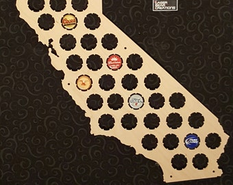 California Shaped Beer Cap Map -- Holds 46 Bottle Caps -- Perfect for your favorite beer lover -- Made in the USA