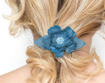 Blue leather flower french barrette hair clip