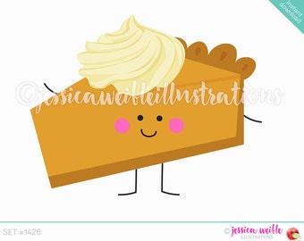Instant Download Cute Pumpkin Pie Slice Digital Clipart, Pumpkin Pie slice Character Clip art, Thanksgiving, Pumpkin pie Illustration, #1426