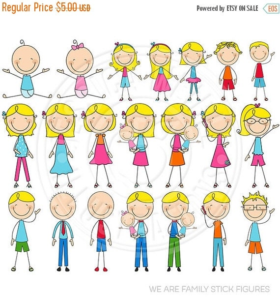 SALE BLONDE We Are Family Stick Figures Cute Digital Clip Art - Commercial Use OK - Stick Figure Family Graphics