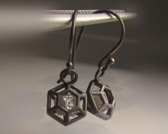 Raw Diamond Earrings, Rough Diamond Earrings, Caged Natural Rough Diamond Earrings in Oxidized Sterling Silver